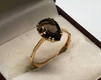 Vintage ring gold 585 with smoky quartz elegant GR306