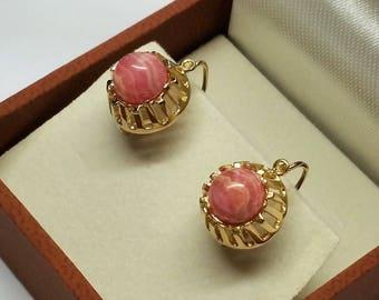 Earrings Gold 333 rhodochrosite rar OR158