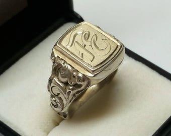 "19.2 mm sealing RING 835 silver initials ""FE"" SR1082"