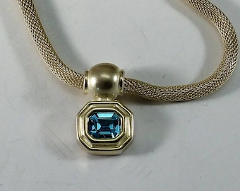 Necklace chain 925 Silver woven with pendant crystal blue noble SK1259