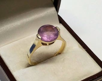 19.4 mm ring 925 Silver gold plated Amethyst shabby vintage old SR606