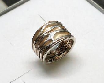 16.2 mm ring 800 silver wrinkle look vintage SR888