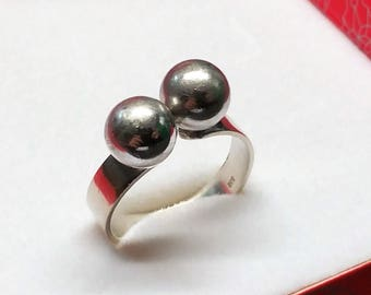 20.8 mm ring silver 835 silver 2 balls SR891