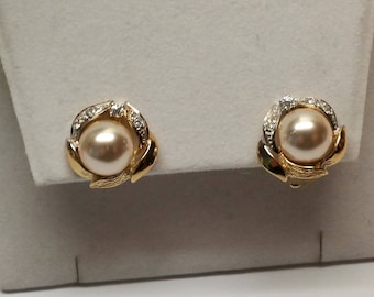 Ohrringe Ohrclips Silber 925 vergoldet Perle & Kristalle edel VintageSO107