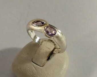 17.2 mm ring 925 Silver crystals lilac SR1010