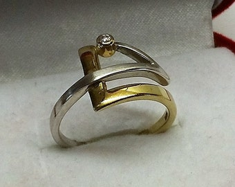 17.5 mm Ring Silver Part gold plated crystal SR949