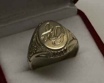 """21.2 mm SEAL RING 830 silver initials """"AG"""" SR761"""