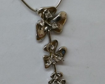 Flowers pendant 925 Silver Pendant Crystal SK892