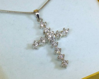Pendant 925 Silver Cross Crystal stone clear SK418