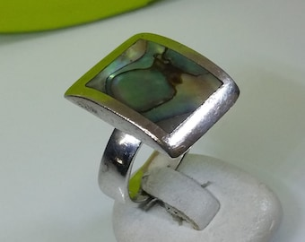 17.4 mm ring Silver 925 abalone shell noble SR676