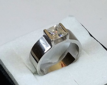 17.3 mm silver ring 925 clear Crystal stone SR688