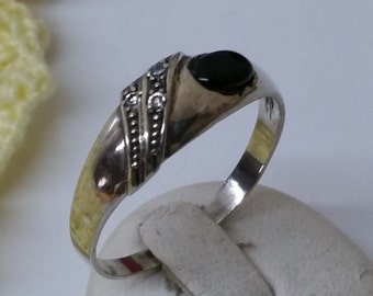 Ring Silver 925 Onyx and Crystal stones SR597