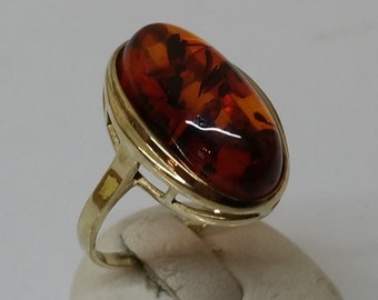 Ring Gold 333er with amber Cognac colors GR496