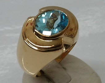 Ring Silver 925 gold plated with Crystal stone SR400