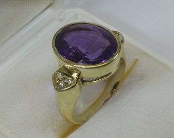 585 gold ring with Amethyst & crystals 60s GR133