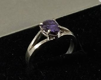 18 mm ring Silver 925 Crystal purple glitter SR1040
