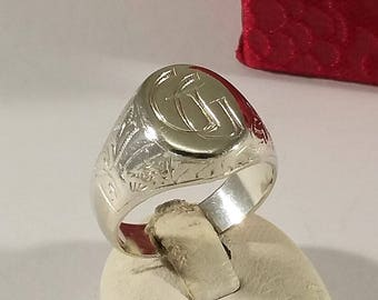 "19 mm sealing Ring 900 silver initials ""GG"" SR831"