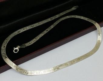 925 Silver snake chain floral design SK608