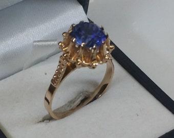 Ring 583 red gold spinel USSR vintage GR207 blue