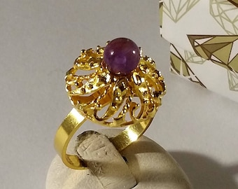 17.4 mm Ring Silver 835 Gold plated amethyst Old SR1053