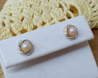 Old 925 Silver earrings Pearl vintage rar SO251