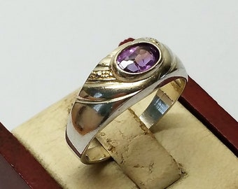 16.5 mm Ring silver 925 crystal Purple stainless SR519