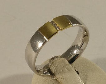 17.7 mm Ring Silver 925 gold plated crystals SR557