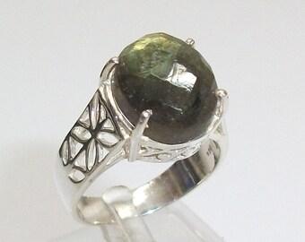 Ring old silver ring 925 Silver tourmaline gemstone green vintage SR149