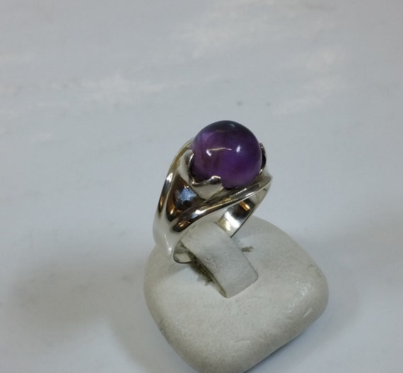 925 Silver Ring With Amethyst Shabby Vintage Sr693 Etsy