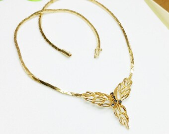 Vintage necklace necklace Sapphire gold plated SK281