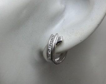 Silver 925 kitchen hoops earrings Crystal SO190