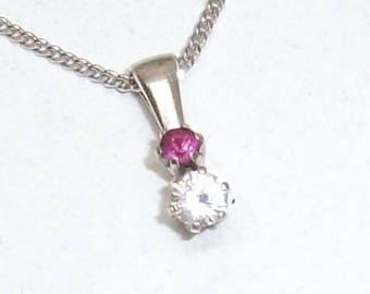 Small pendant 925 Silver Ruby & Crystal elegant Petite glitter SK216
