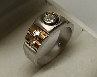 17.9 mm Ring Silver part gold plated crystal SR906