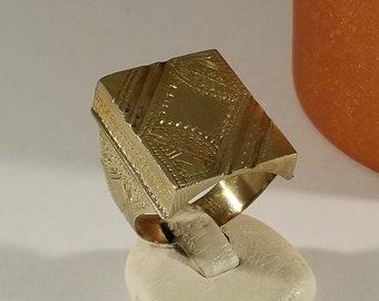 20.2 mm Mens Ring 800 silver gold plated rar SR610