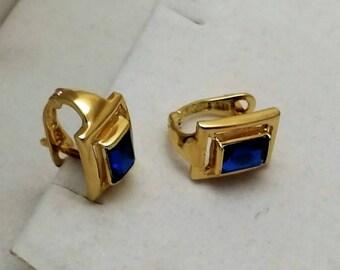 Earrings earrings gold 585 blue crystals precious vintage OR132