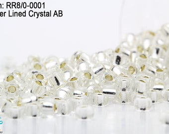 40 Grams Vintage Czech Crystal Silver Lined Glass 100 Rocaille Seed Beads R350