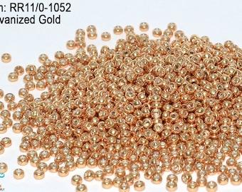 RR 11/0-1052 Miyuki Round Rocailles  Duracoat Galvanized Soft Gold, 20 - 40- 100 - 500gram Seed Beads