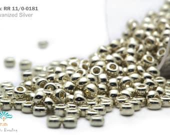 RR 11/0-0181 Miyuki Round Rocailles Beads, Galvanized Silver, 20 - 40gram Seed Beads