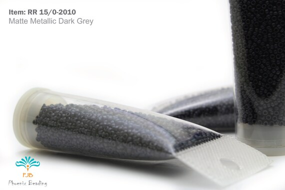 Miyuki Round Rocailles 15//0 Metallic Matte Black Seed Beads RR-2010