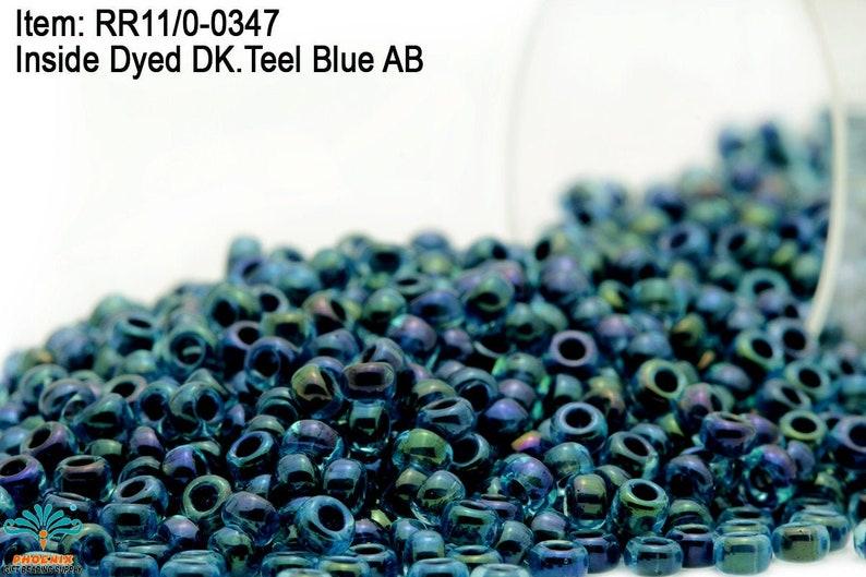 RR 110-0347 Miyuki Round Rocailles  Inside Dyed DK 20-40 Teel Blue AB 100-500gram Seed Beads