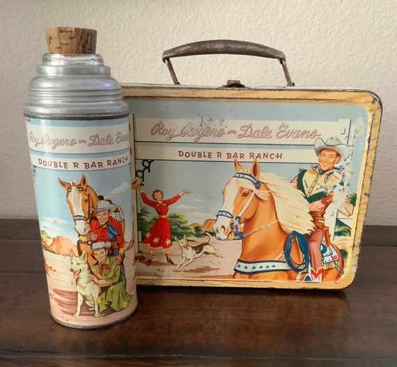Vintage Western Lunch Box & Thermos, Roy Rogers and Dale Evans, Vintage 1950's lunch box