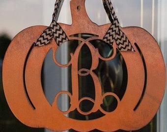 Fall Décor Orange Pumpkin Monogram Door Hanger – Pumpkin Initial –Pumpkin with Burlap Ribbon - Halloween Porch - Wooden Pumpkin Door Hanger