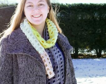 Yellow, Gray, and Tan Crocheted Windowpane Scarf,  Winter Scarf, Modern Crochet Scarf, Artistic Winter Scarf