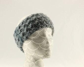 Gray and Teal Ombre Ear Warmers,  Wool Earwarmer, Crocheted Earwarmer, Gray and Teal Crocheted Winter Earwarmer