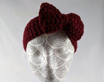 Girls Bow Earwarmer, Maroon Bow Earwarmer, Big Bow Headband, Children's Crocheted Headband