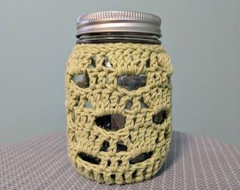 Lacy Crocheted Mason Jar Cover, Green Mason Jar Cover, Mason Jar Centerpiece, Tea Light, Rustic Wedding Decor