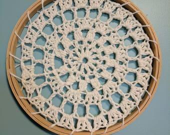 Crocheted Mandala Wall Hanging, Crocheted Dream Catcher, White Dream Catcher Art, 9 inch Diameter