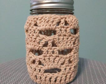 Lacy Crocheted Mason Jar Cover, Beige Mason Jar Cover, Mason Jar Centerpiece, Tea Light, Rustic Wedding Decor