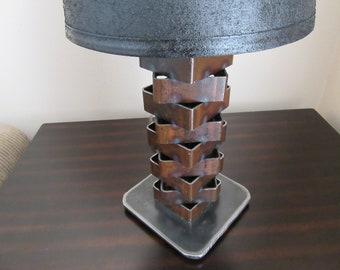 Rusted Metal Lamp-Thick Steel-Metal Art Light-Welded Art-Scrap Metal-Industrial Lighting-Metal Light