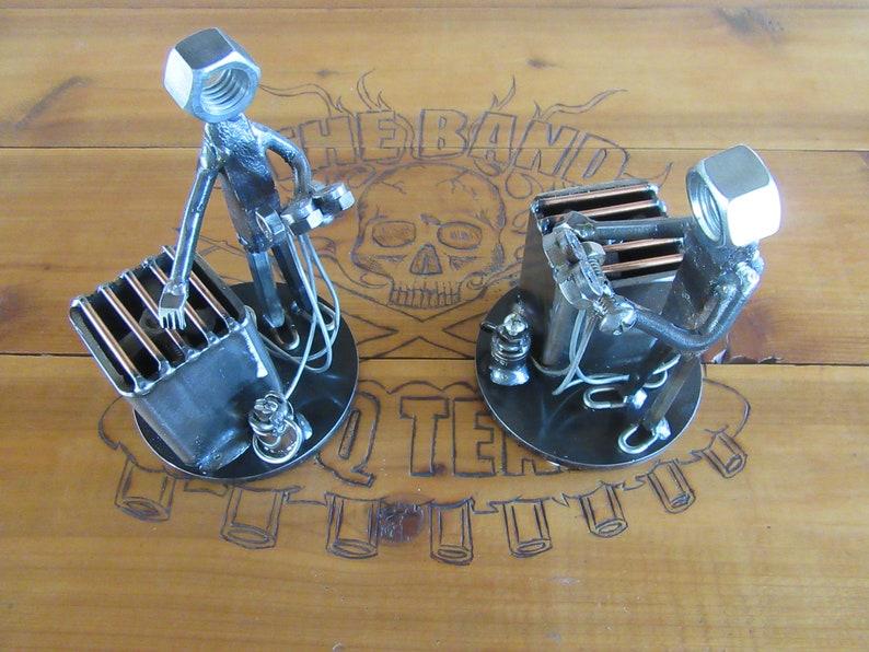 Air Conditioning Technician Figurine-Metal Man-Freon-Condensing Unit-Welded  Art-Scrap Metal-Gauges-Construction Worker-Blue Collar Metal Art